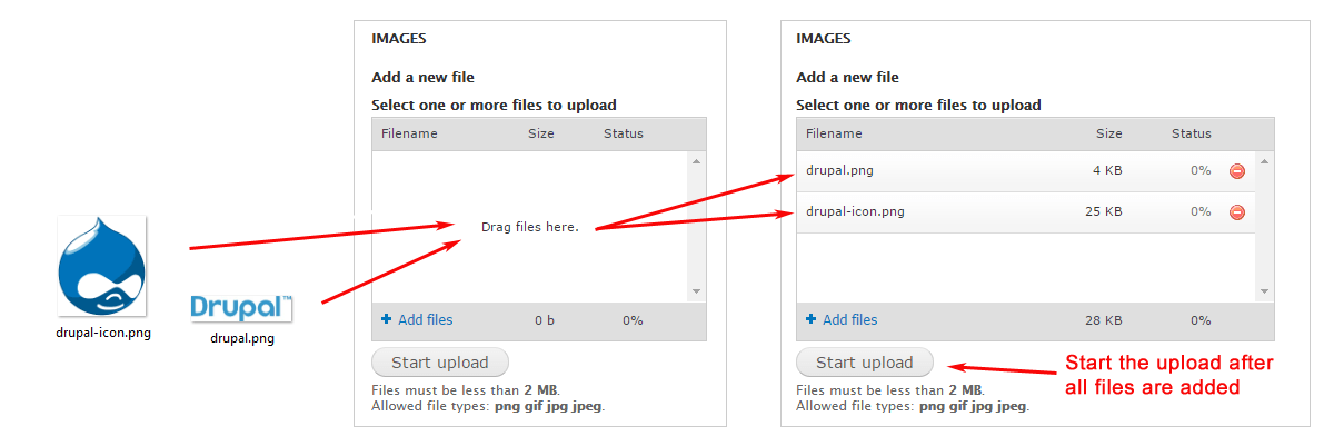 Drupal Drag Drop Multiple File Upload Images