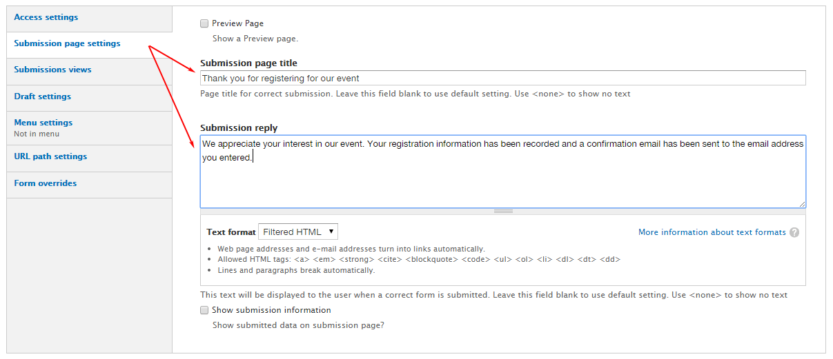 Drupal Entityform Submission Page Settings